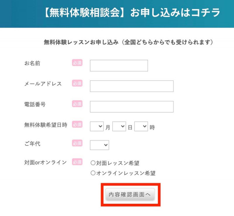 手順②:必要事項を記入し、「内容確認画面へ」をクリック